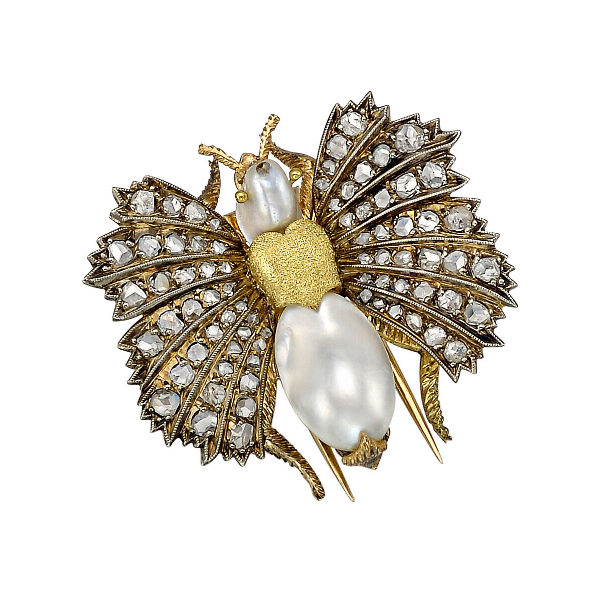 18k Gold, Diamond & Pearl Moth Clip Brooch