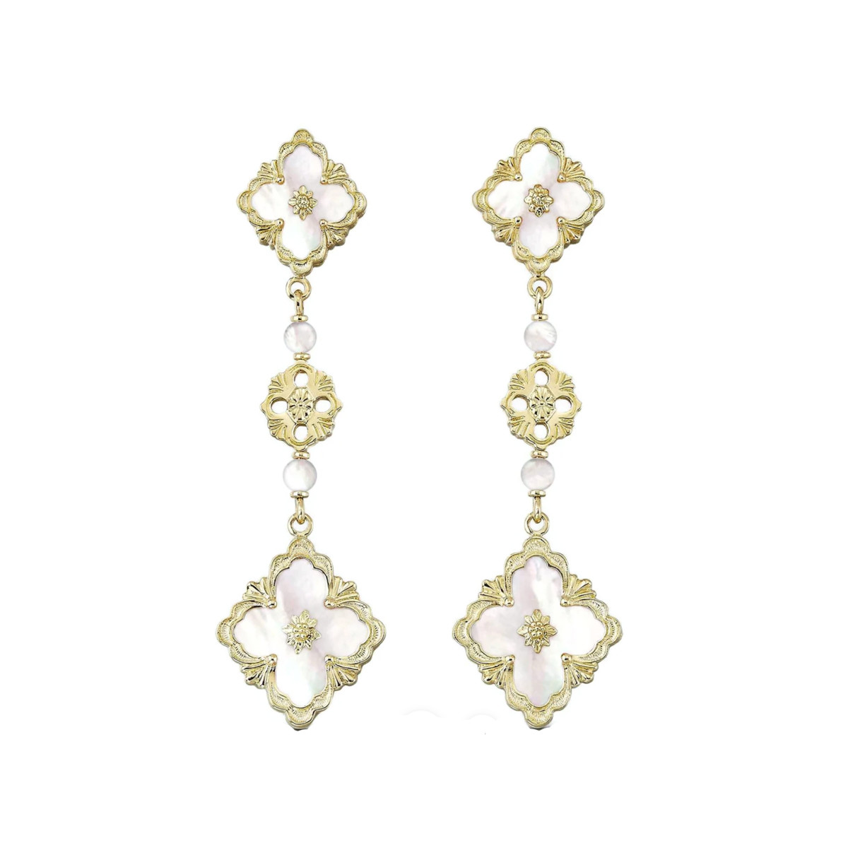 "18k Yellow Gold & Mother-of-Pearl ""Opera"" Drop Earrings"