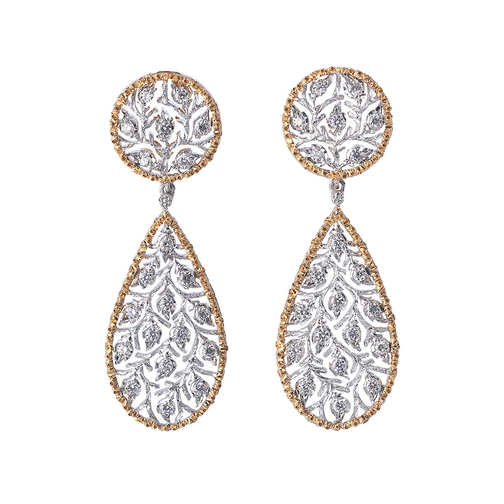 "18k Gold & Diamond ""Ramage"" Pendant Earrings"