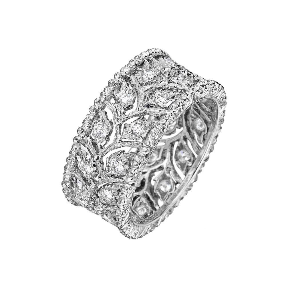 "18k White Gold & Diamond ""Ramage"" Foliate Band Ring"