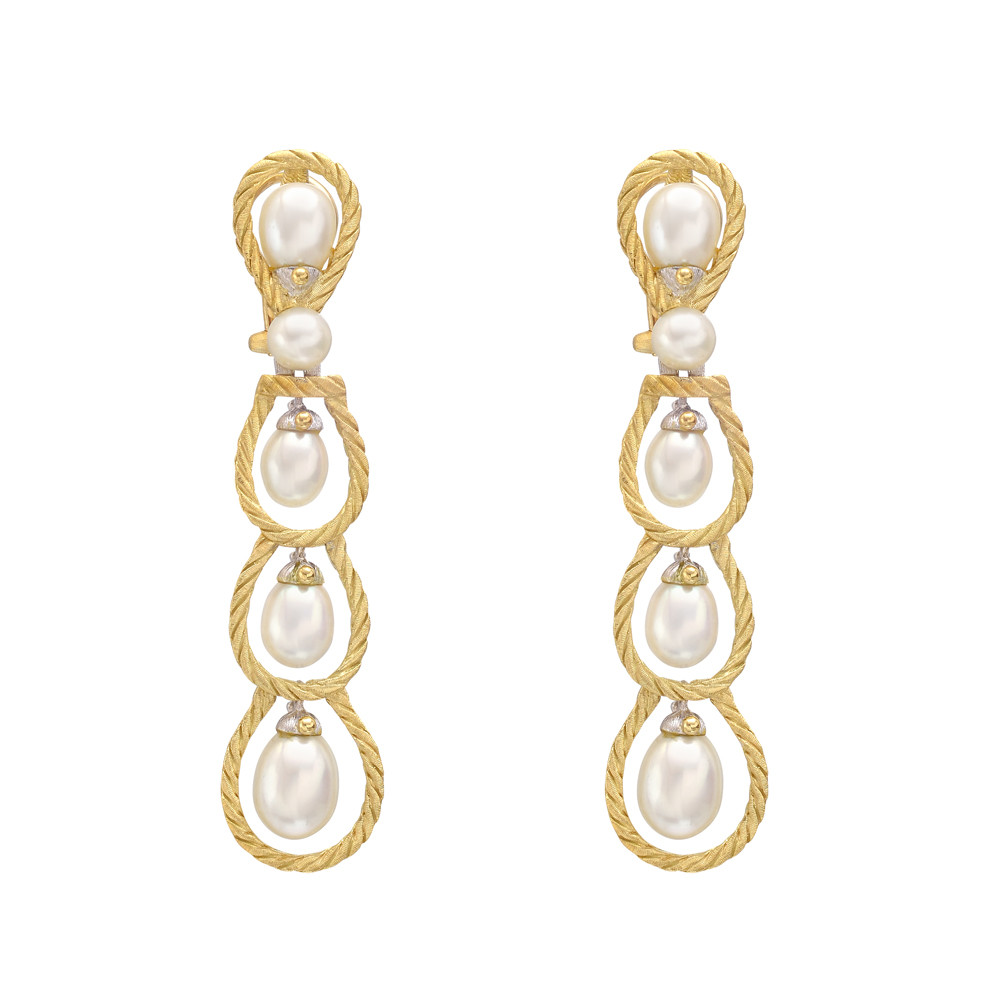 """Rete"" Pearl Drop Earrings"