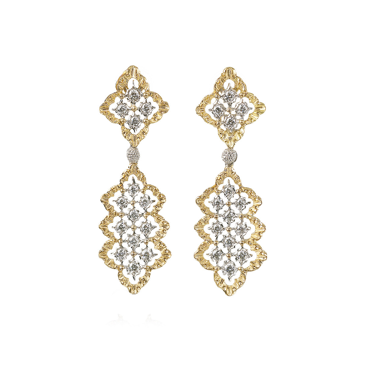 "18k Gold & Diamond ""Rombi"" Drop Earrings"