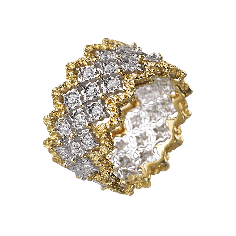 "18k Gold & Diamond ""Rombi"" Band Ring"