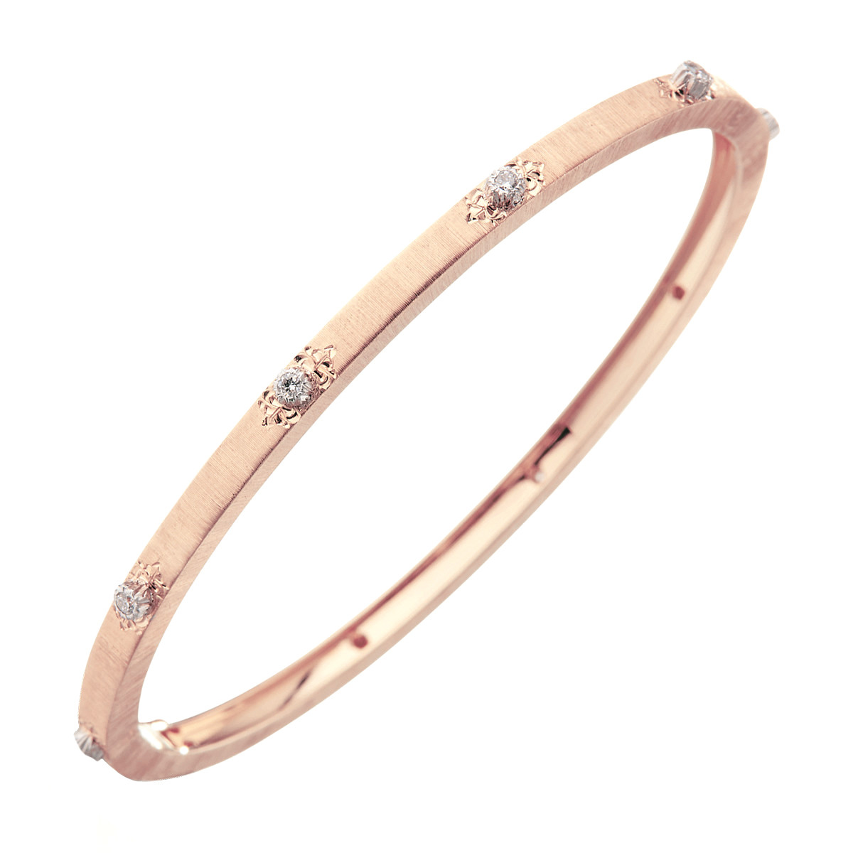 "Thin 18k Rose Gold & Diamond ""Macri"" Bangle Bracelet"