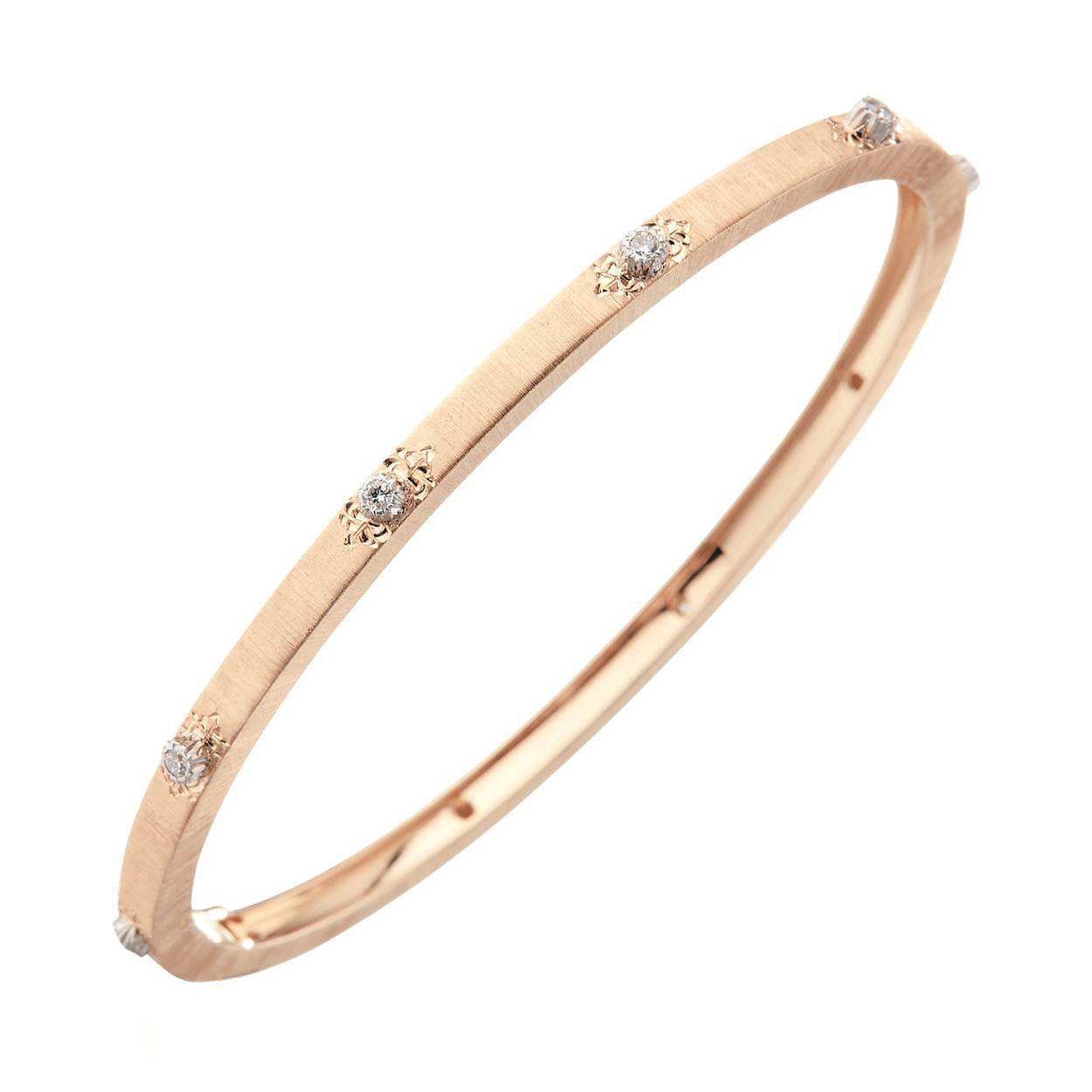 "Thin 18k Rose Gold & Diamond ""Macri"" Bangle"
