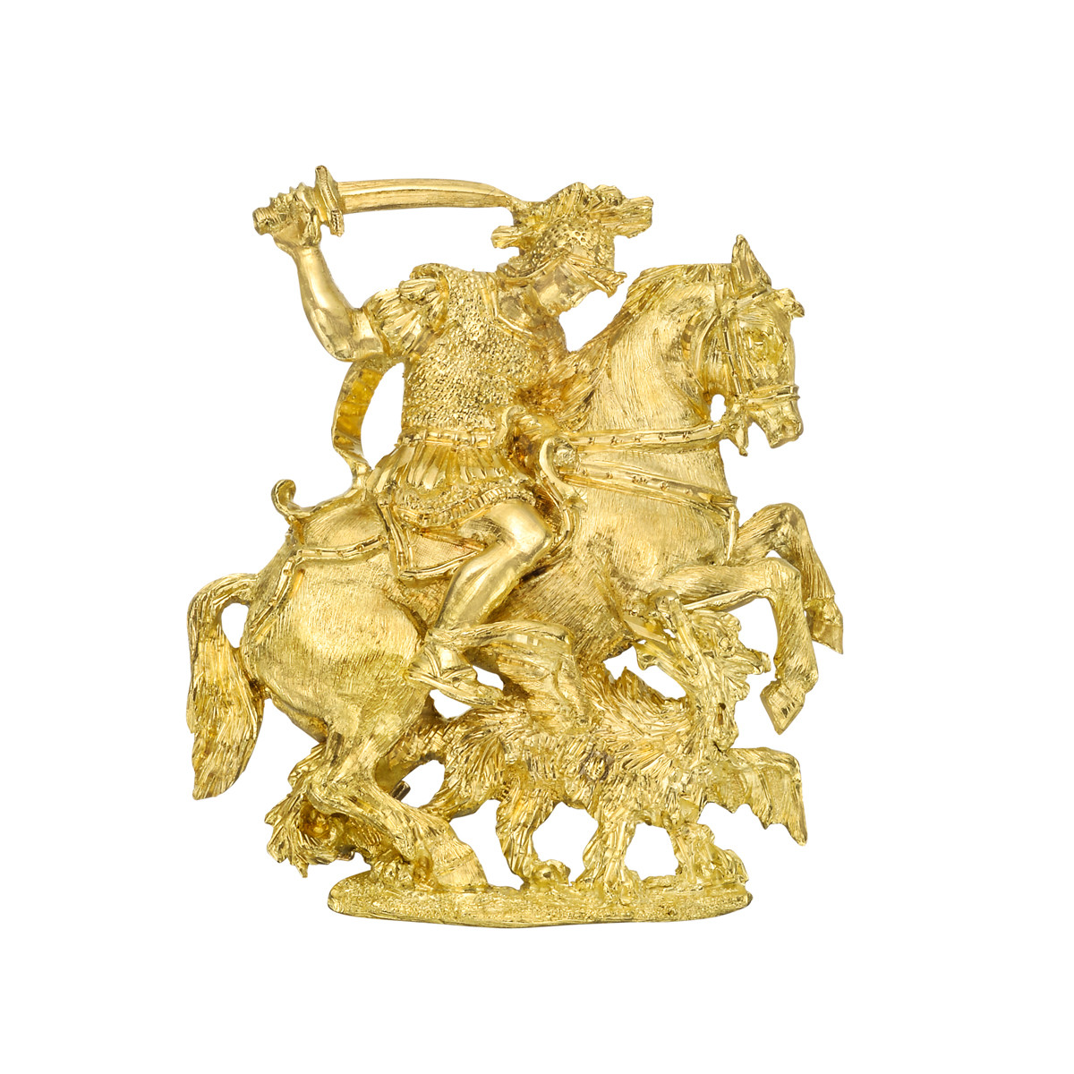 18k Yellow Gold Saint George Slaying the Dragon Pendant