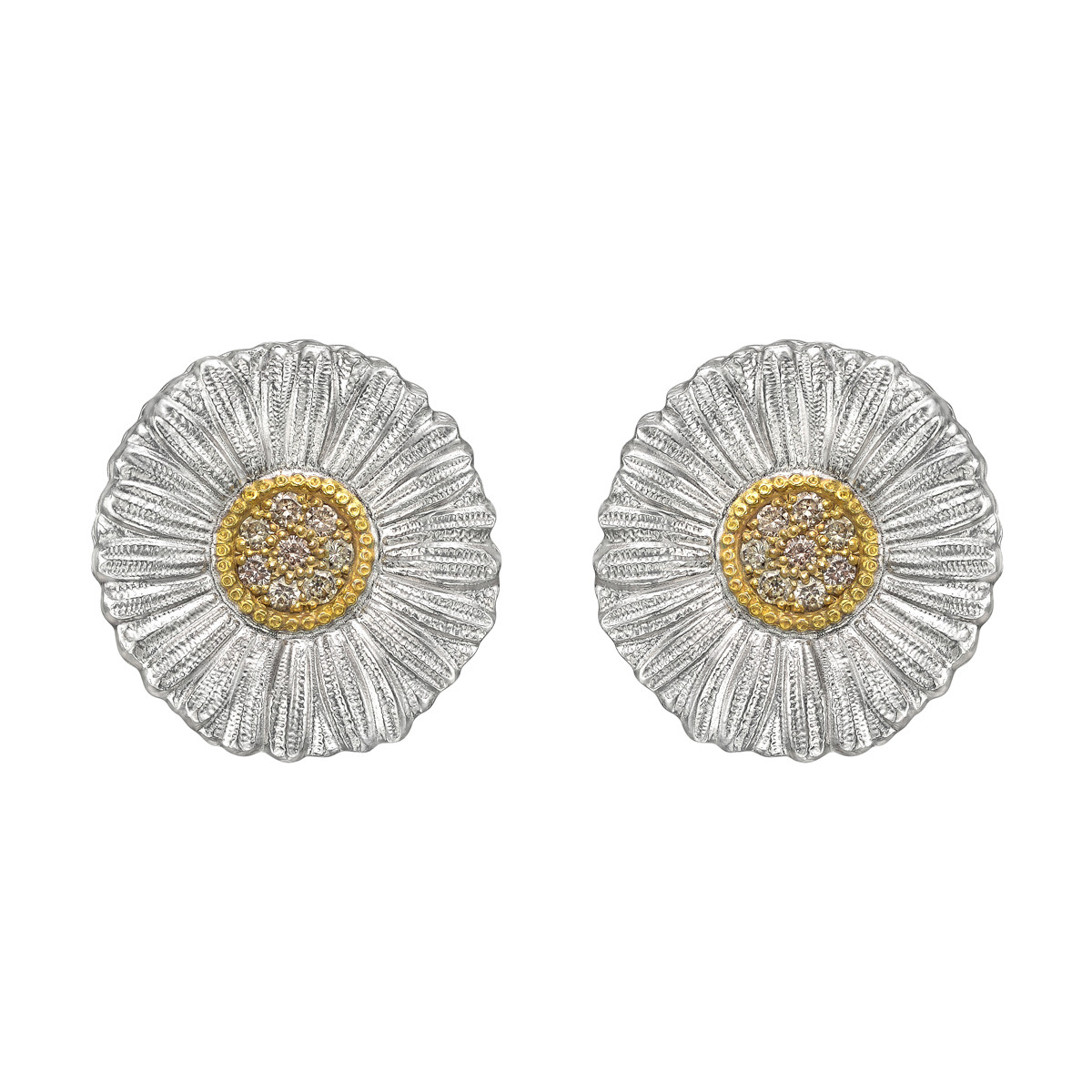 Medium Silver, Gold & Diamond Daisy Earrings