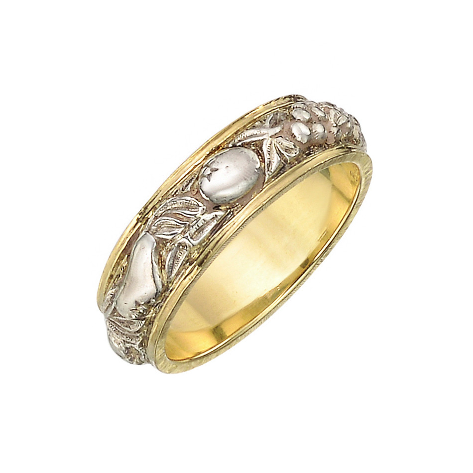 18k Yellow Gold & Engraved Silver Band