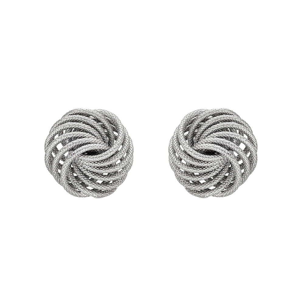 "Small 18k White Gold ""Spirali"" Button Earclips"