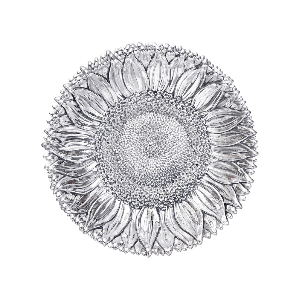 Medium Silver Sunflower Dish