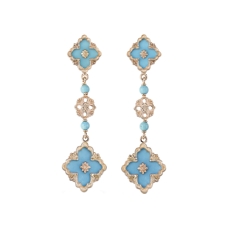 "18k Rose Gold & Turquoise ""Opera"" Drop Earrings"