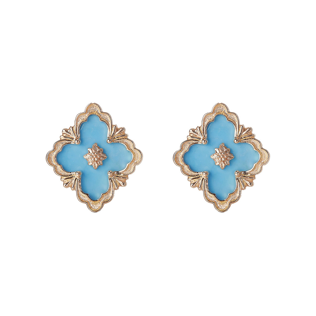 "18k Rose Gold & Turquoise ""Opera"" Stud Earrings"
