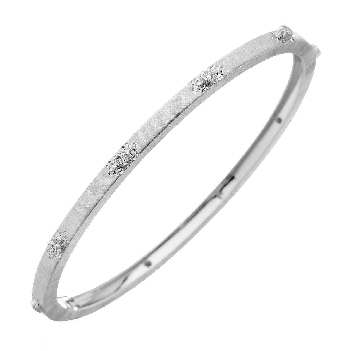 "Thin 18k White Gold & Diamond ""Macri"" Bangle"