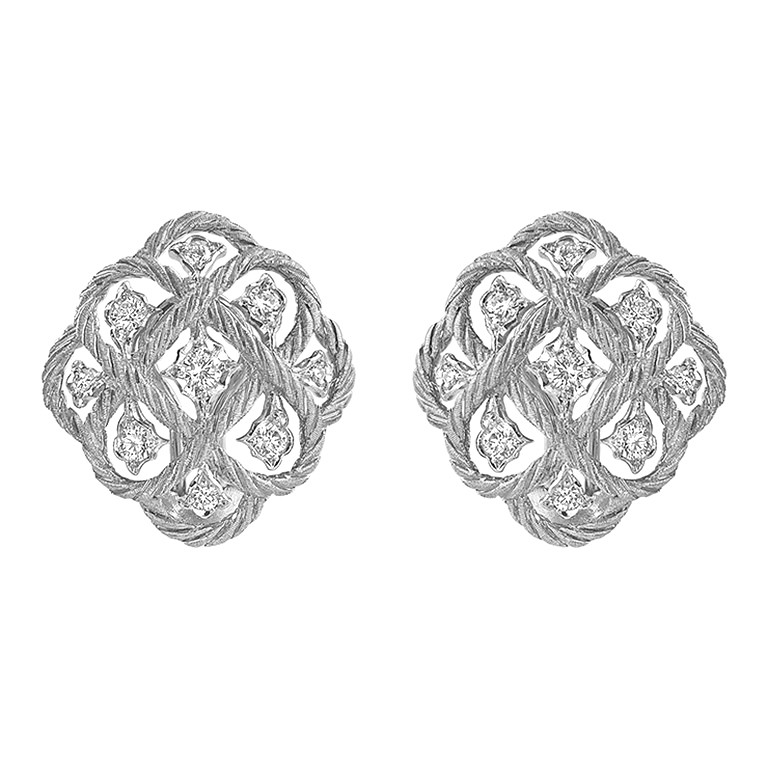 "18k White Gold & Diamond ""Etoilee"" Button Earrings"