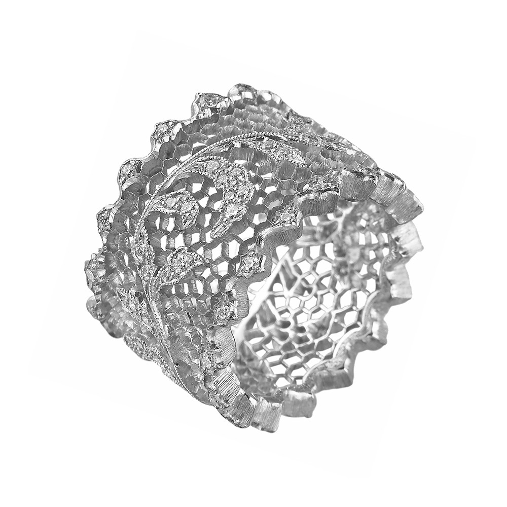 18k White Gold & Diamond Leaf Band Ring
