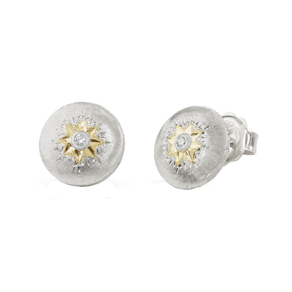 "18k White Gold & Diamond ""Macri"" Stud Earrings"