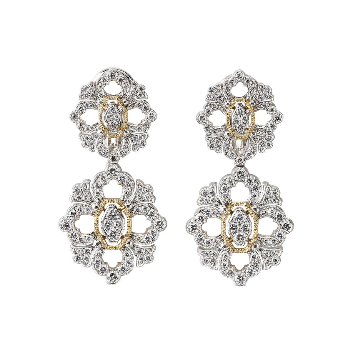"18k White Gold & Diamond ""Opera"" Drop Earrings"