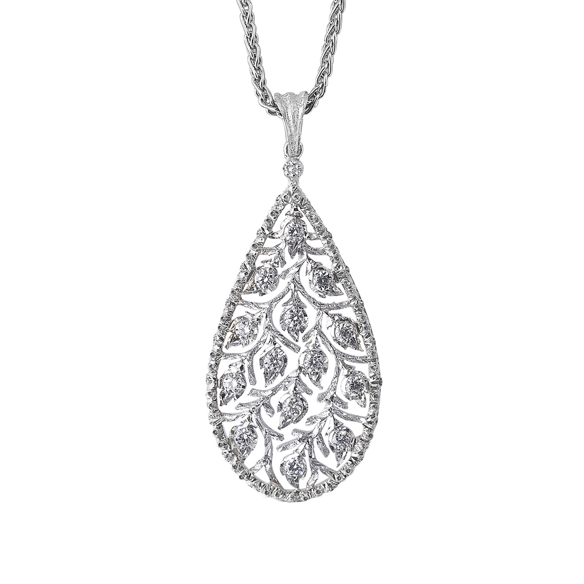 "18k White Gold & Diamond ""Ramage"" Pendant Necklace"