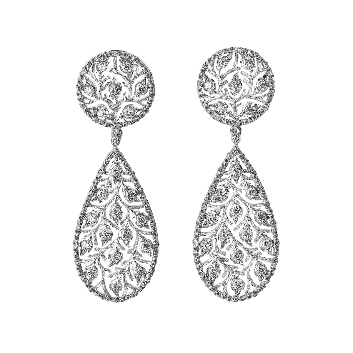 "18k White Gold & Diamond ""Ramage"" Pendant Earrings"
