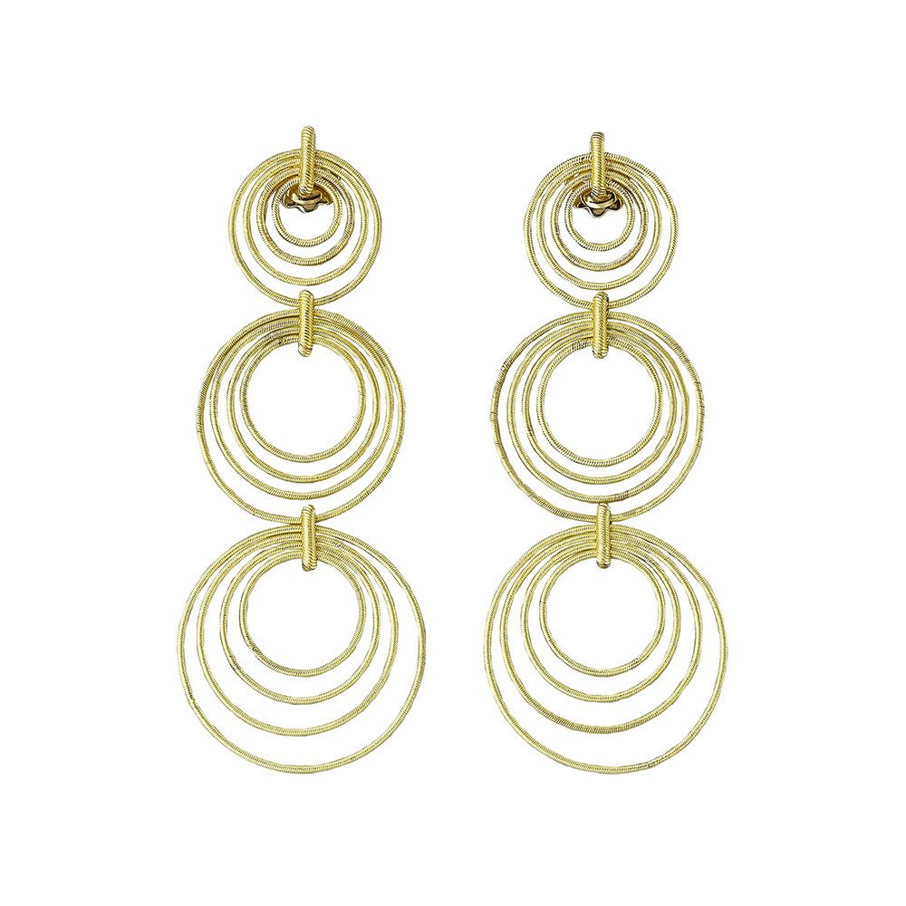 "18k Yellow Gold ""Hawaii Waikiki"" Triple Drop Earrings"