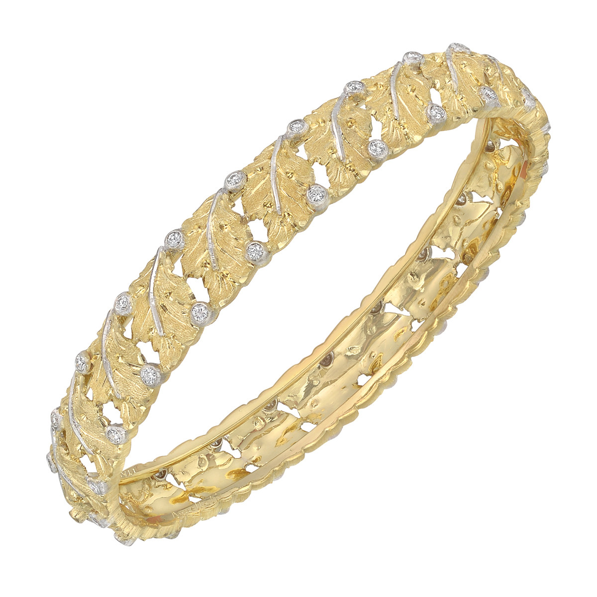 18k Gold & Diamond Leaf Bangle Bracelet