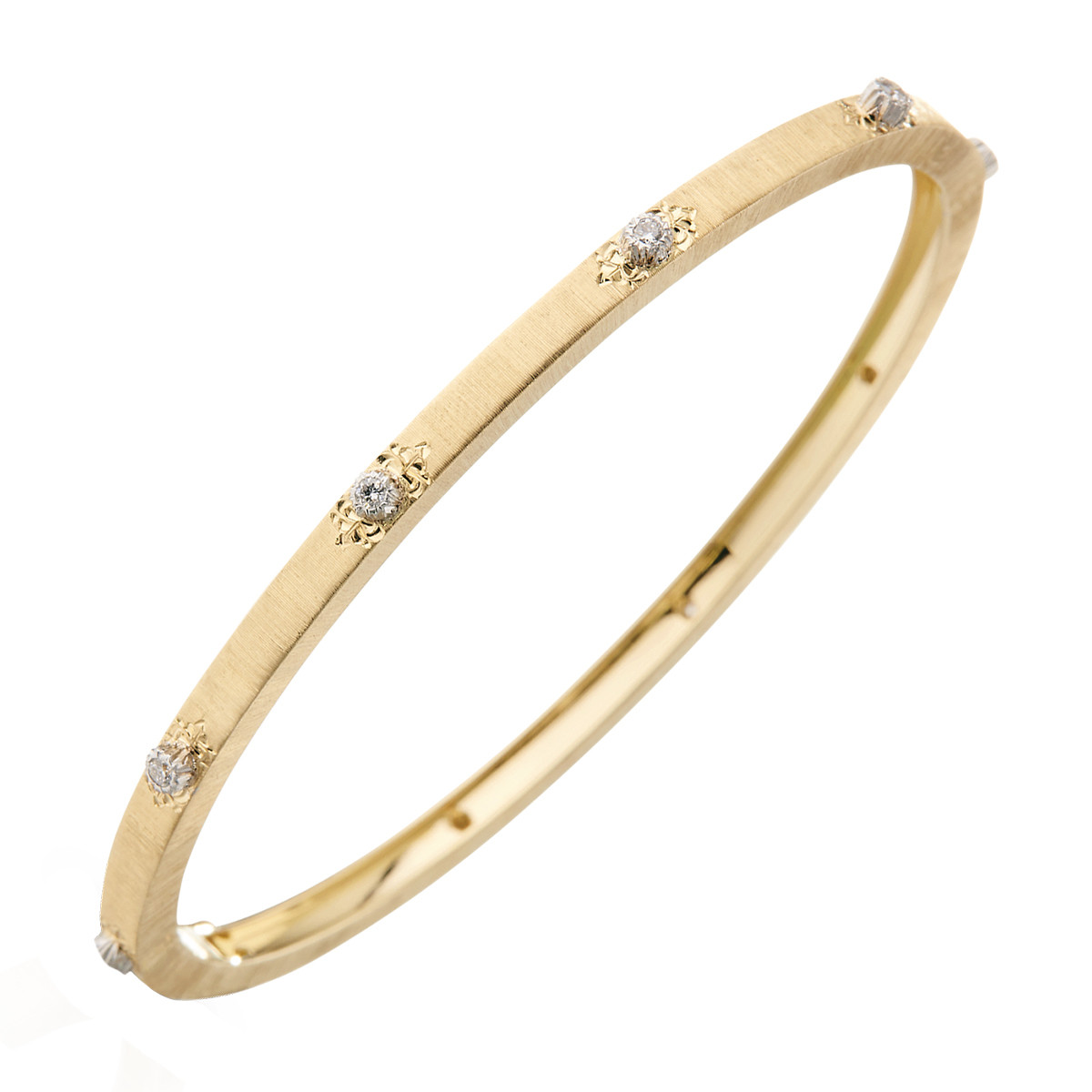 "Thin 18k Yellow Gold & Diamond ""Macri"" Bangle Bracelet"