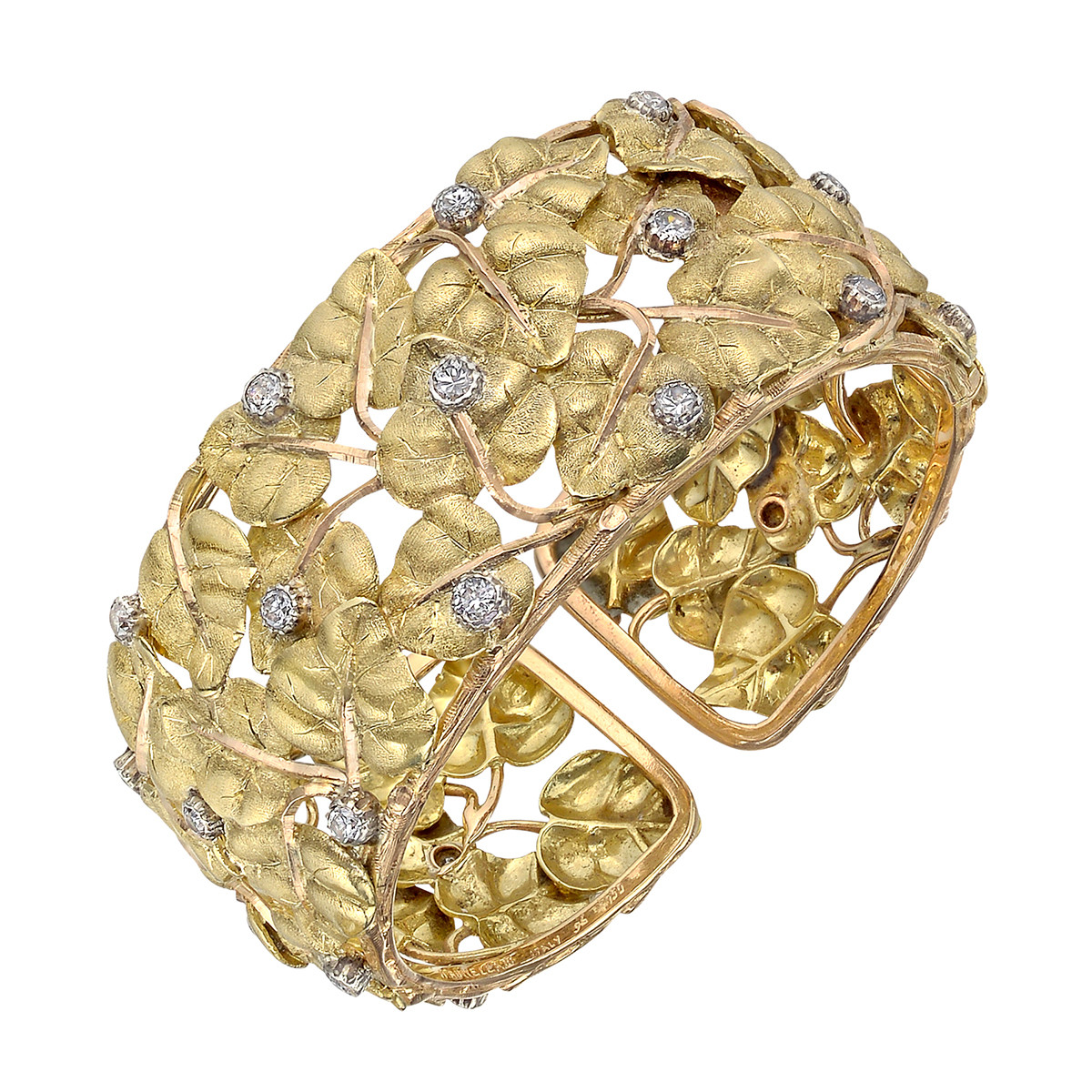 18k Gold & Diamond Leaf Cuff Bracelet