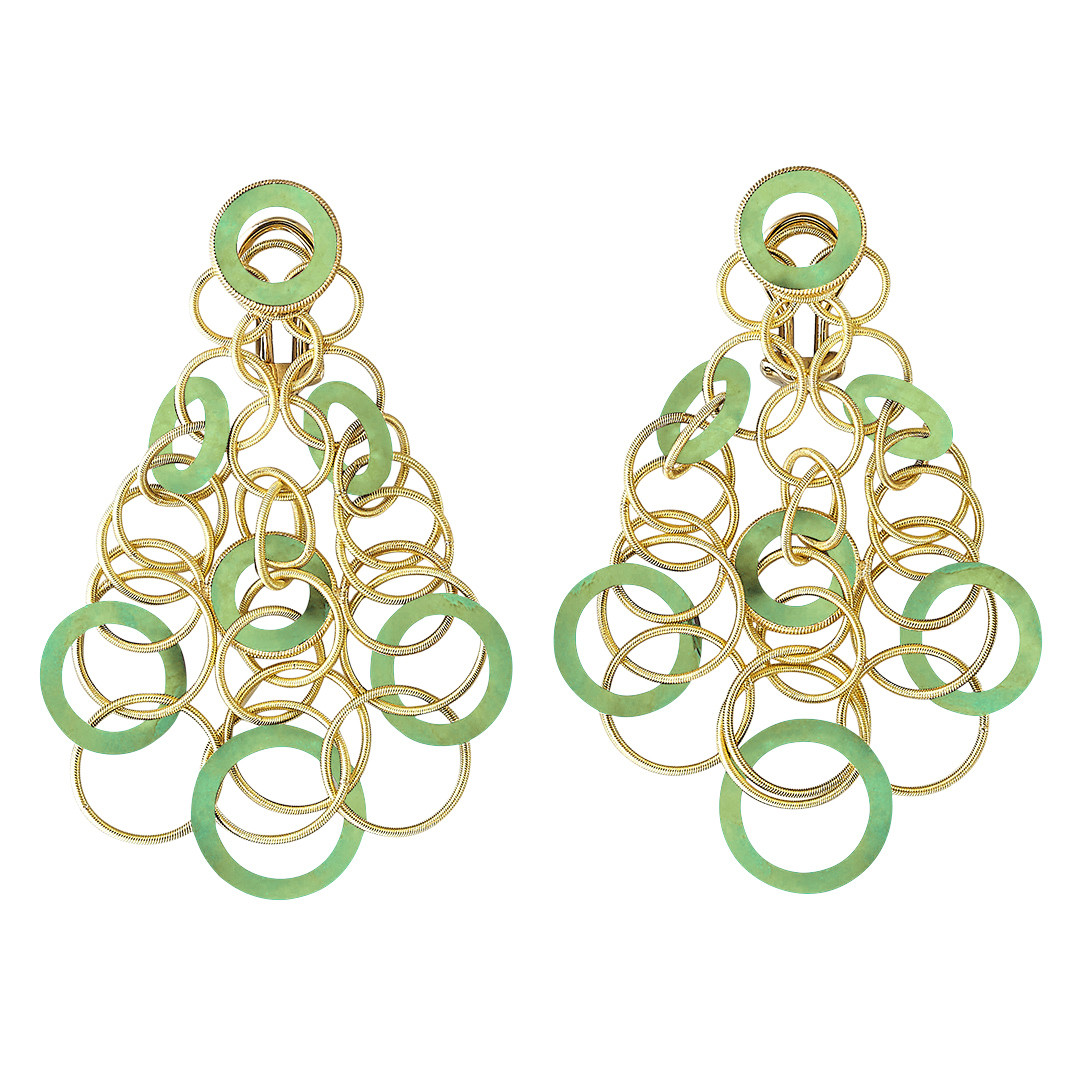 "18k Yellow Gold & Jadeite ""Hawaii"" Chandelier Earrings"