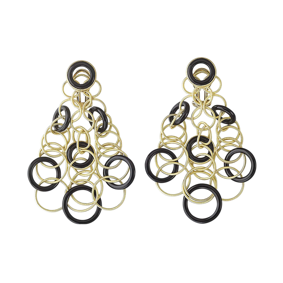 "18k Yellow Gold & Onyx ""Hawaii"" Chandelier Earrings"