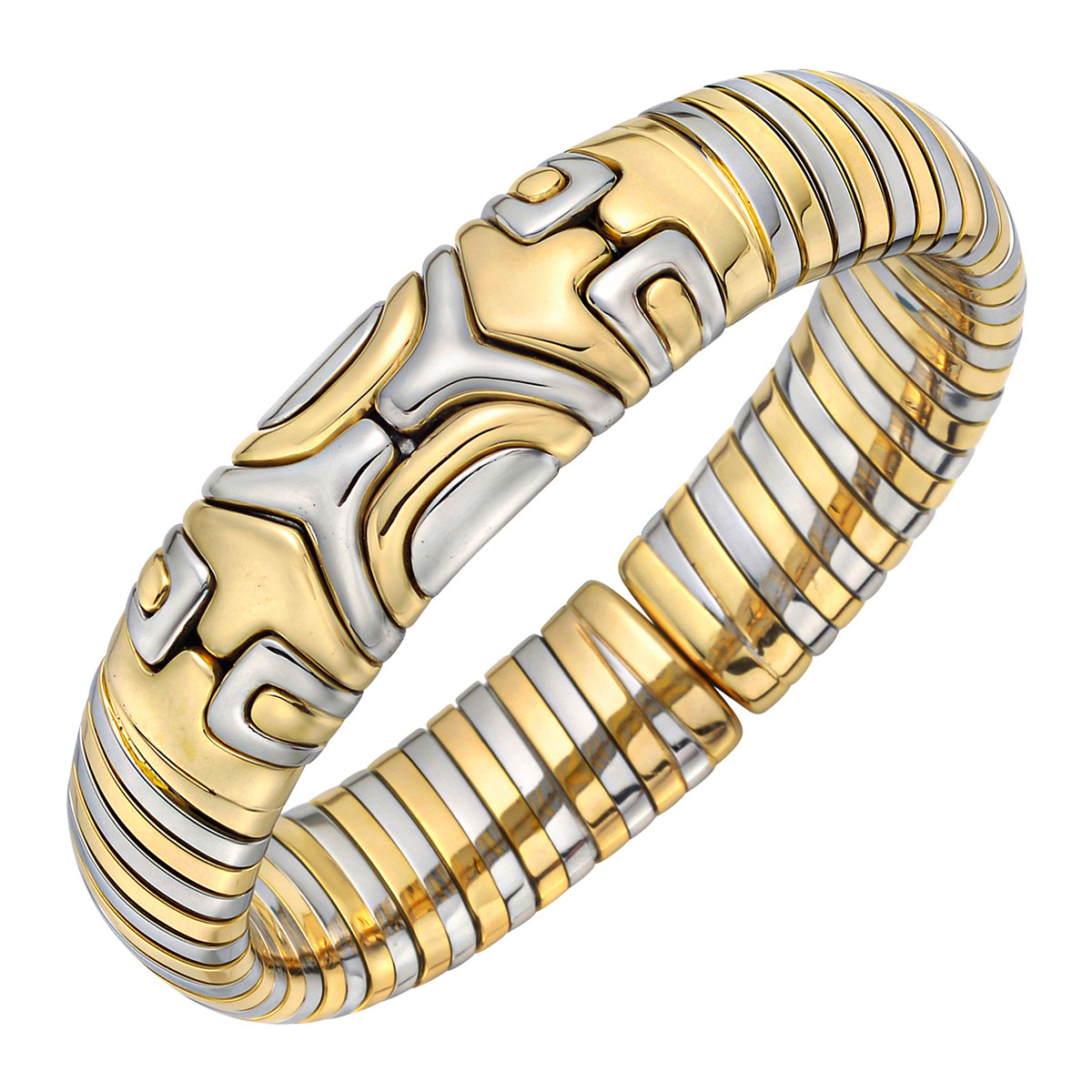 18k Yellow & White Gold Geometric Cuff