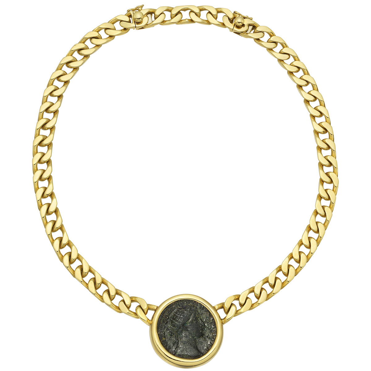 ltd necklace faceted gold dana glass bead coin charm and levy groupdiamanteancientromancoinballchainnecklacedanalevy antique products bracelet silver ancient chain ball diamante roman