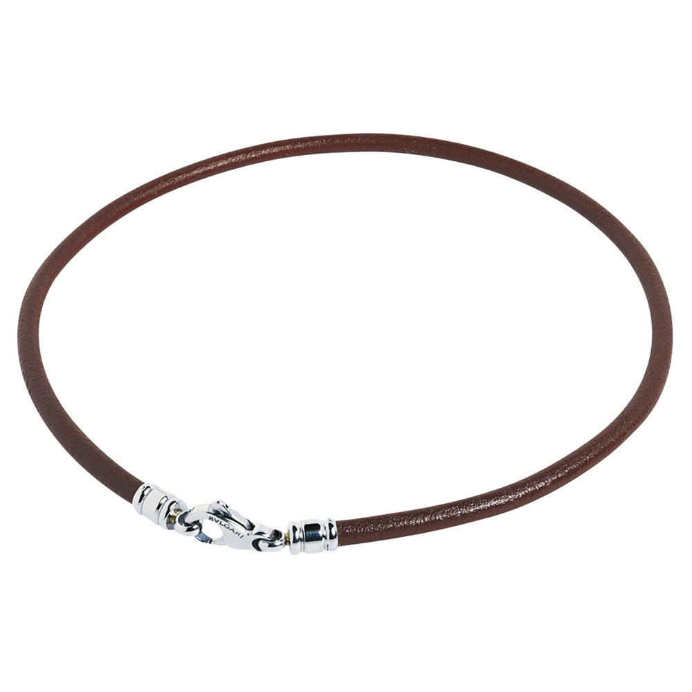 Brown Leather Cord with Steel Clasp