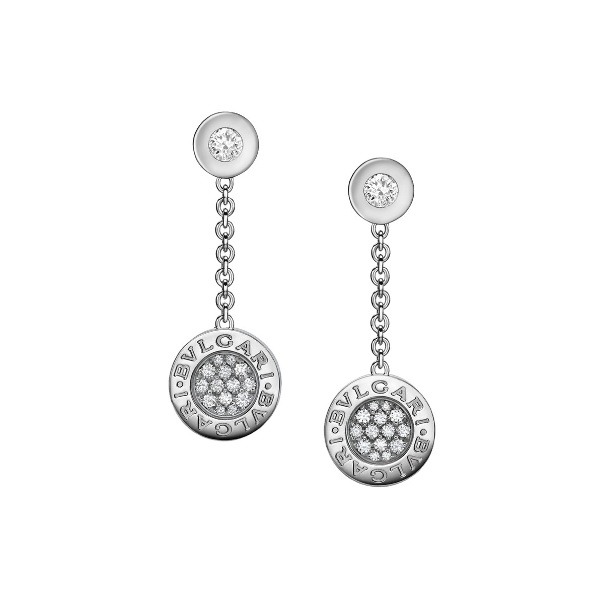 "Pavé Diamond ""Bvlgari-Bvlgari"" Drop Earrings"