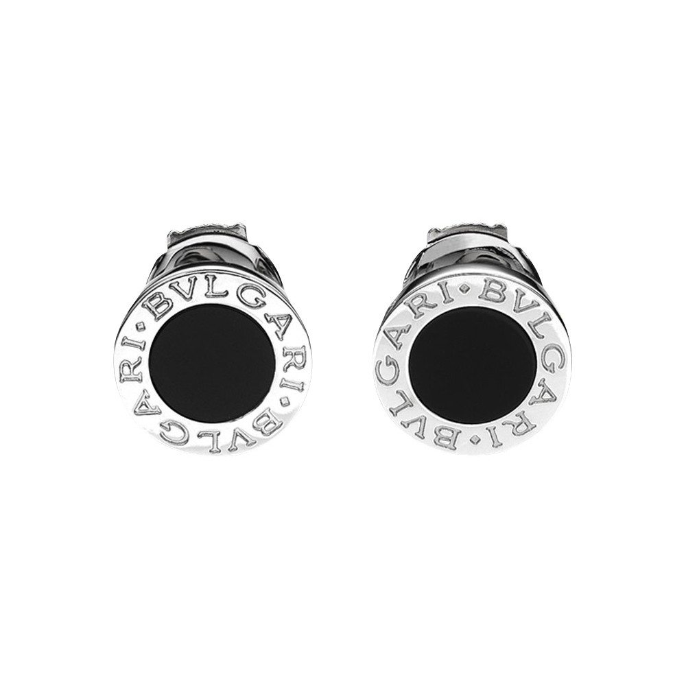 Bvlgari Disc Shaped Earrings In 18k White Gold With Round Black Onyx Centers Posts Squeeze Style Backs Designed By Bulgari 0 5 Diameter