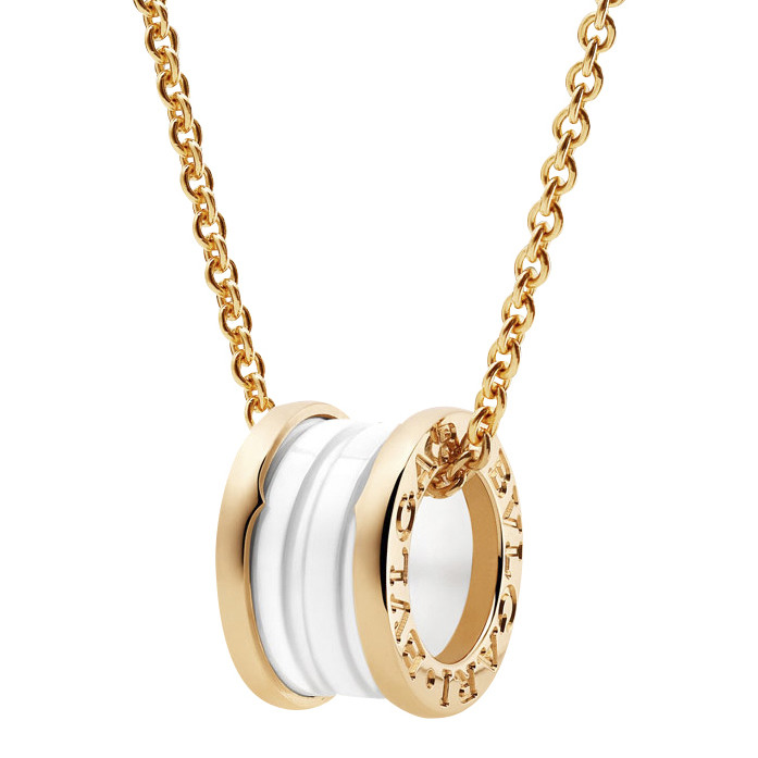 "18k Pink Gold & White Ceramic ""B.Zero1"" Pendant Necklace"