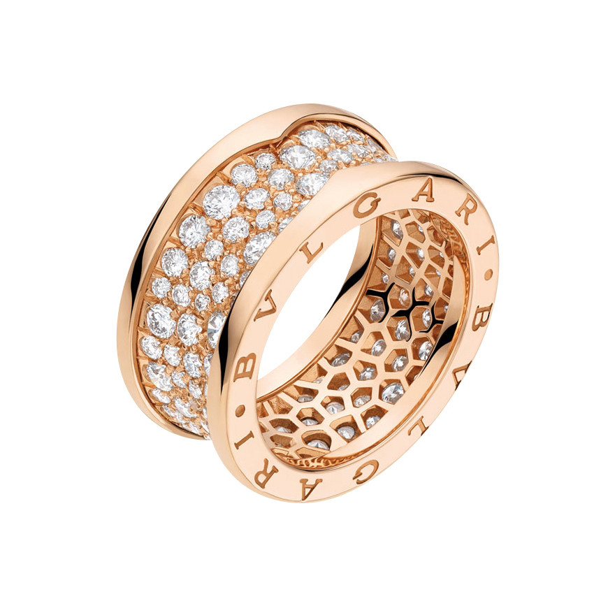 "18k Pink Gold & Diamond ""B.Zero1"" Band Ring"