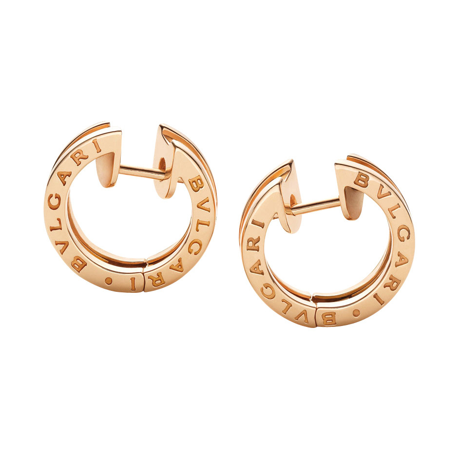 Small 18k Pink Gold B Zero1 Hoop Earrings