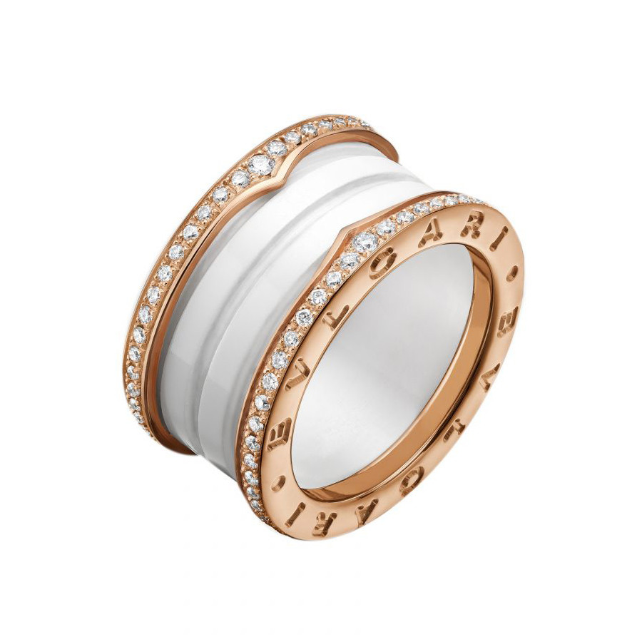 "18k Pink Gold, White Ceramic & Diamond ""B.Zero1"" Ring"