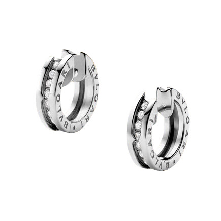 "Small 18k White Gold & Diamond ""B.Zero1"" Hoop Earrings"
