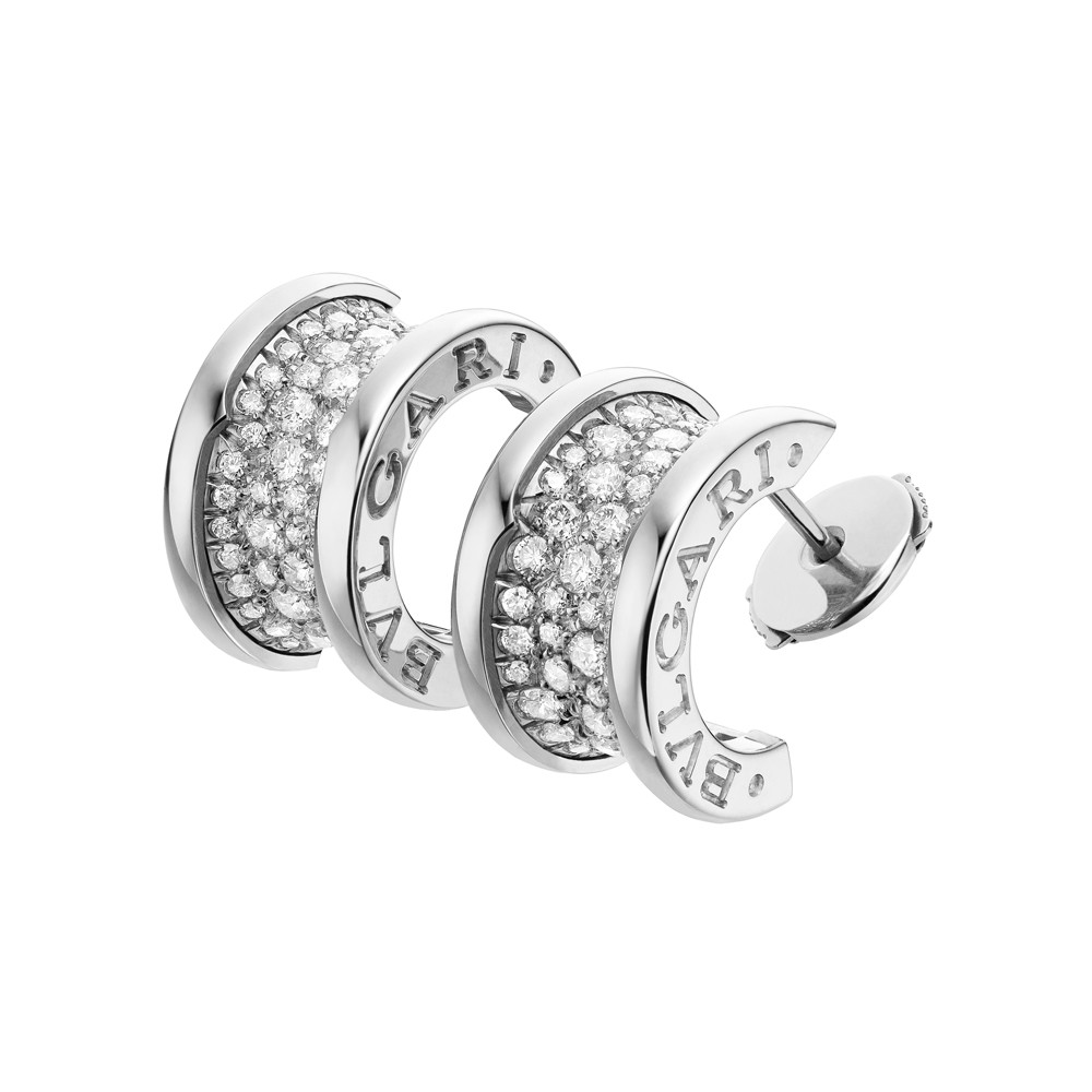 bulgari large white gold diamond b zero1 hoop earrings. Black Bedroom Furniture Sets. Home Design Ideas