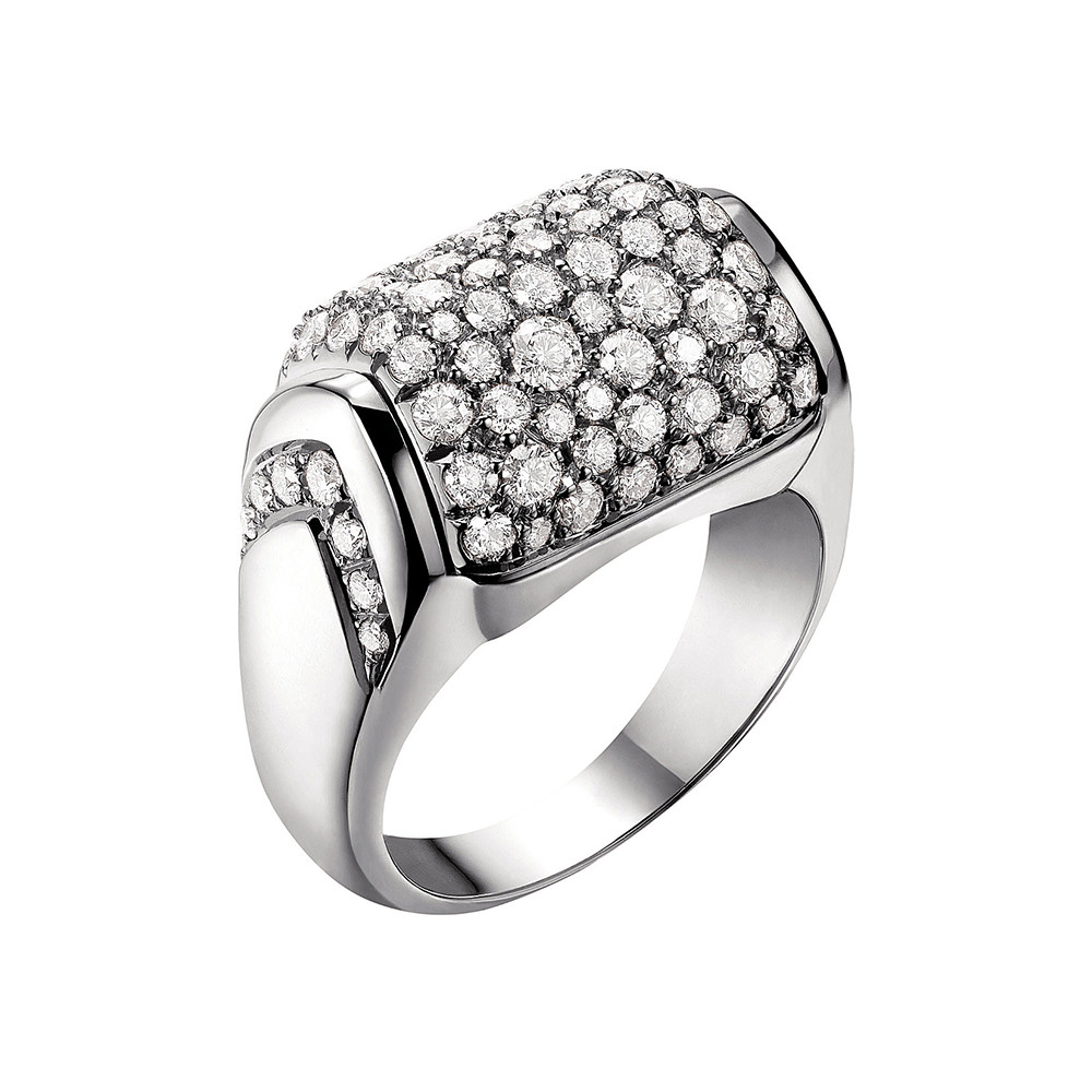 "18k White Gold & Diamond ""MVSA"" Ring"