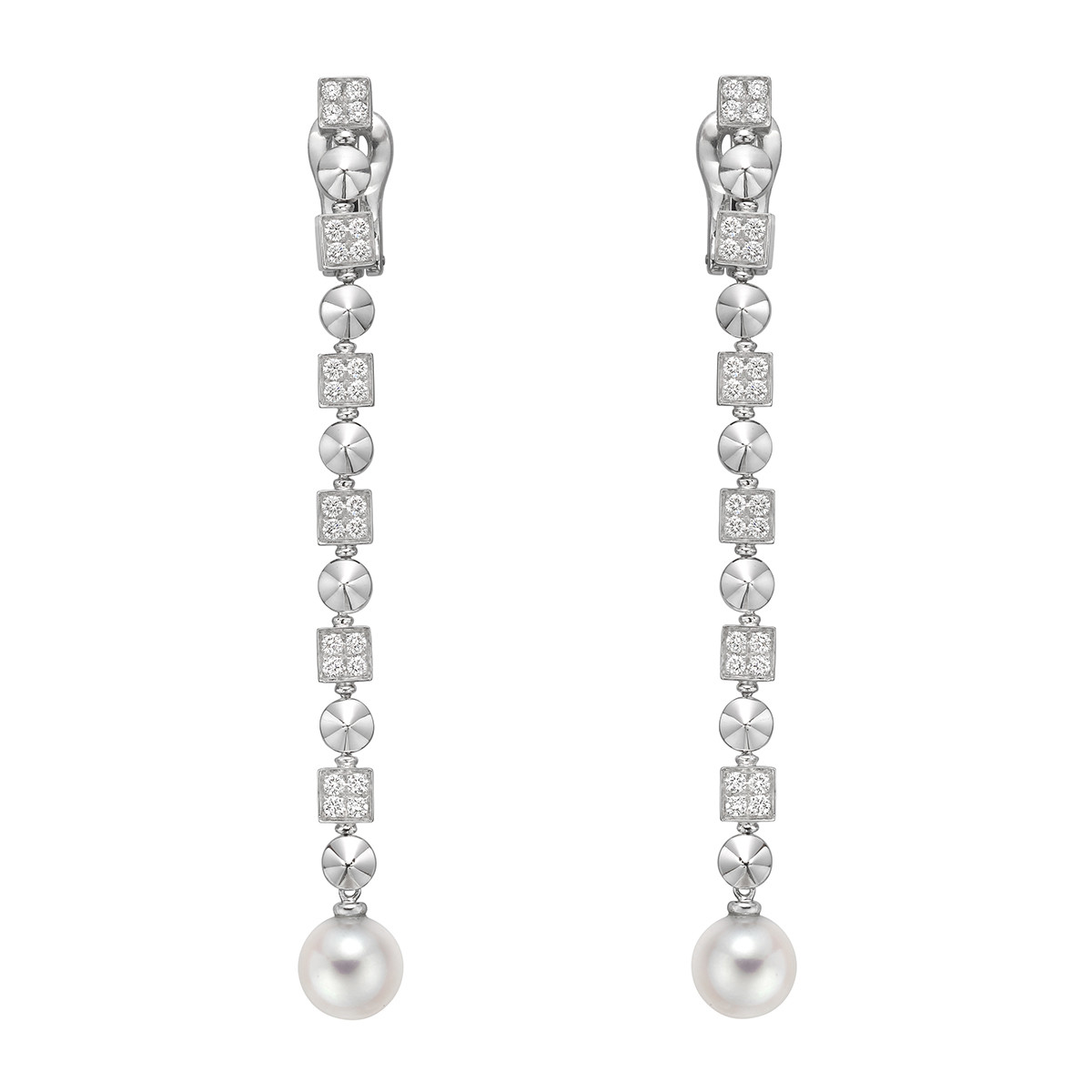 Lucea Long Drop Earrings Designed As A Diamond Set Chain Ending In An 8mm Round White Cultured Pearl 18k Gold Signed Bvlgari