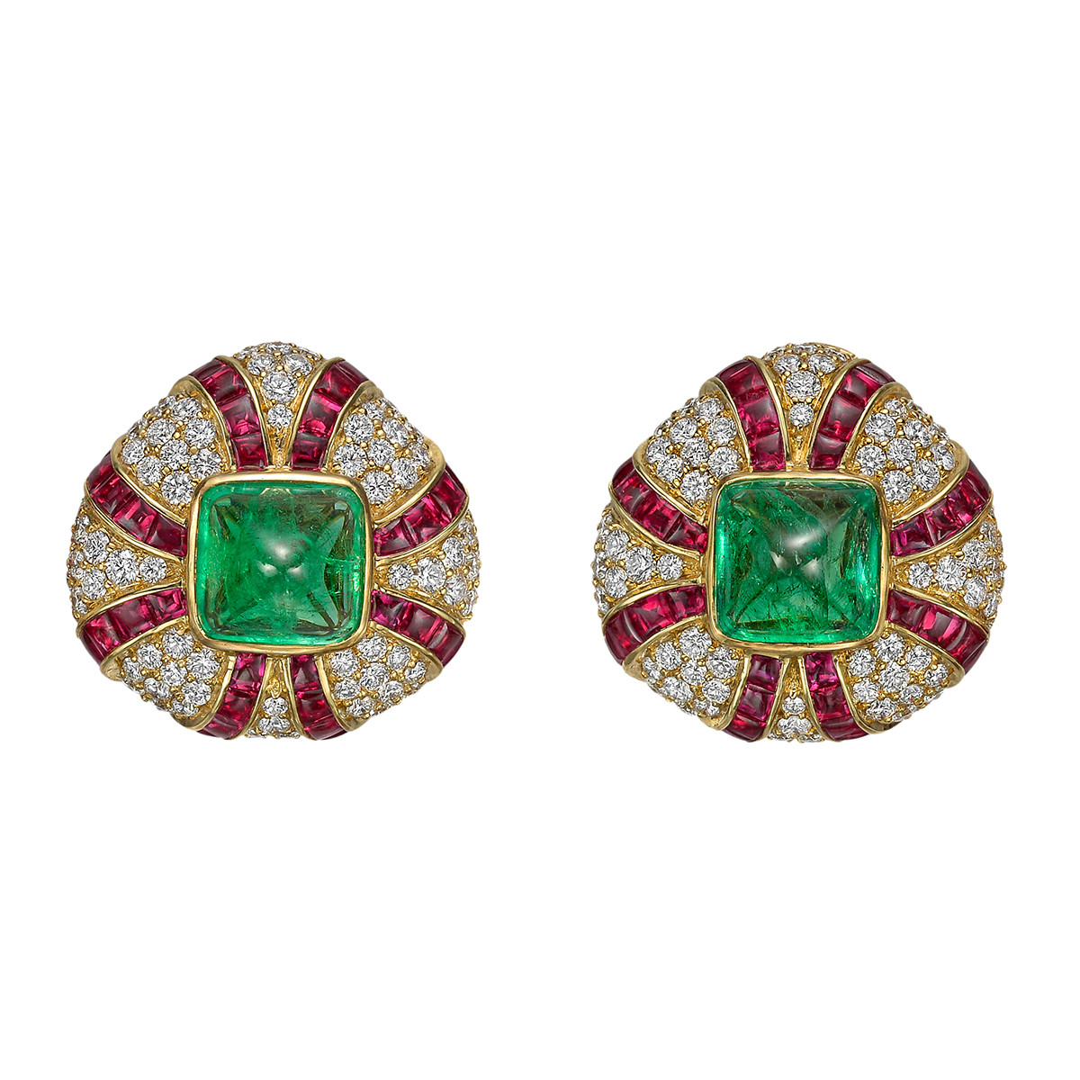 Emerald, Ruby & Diamond Domed Earclips