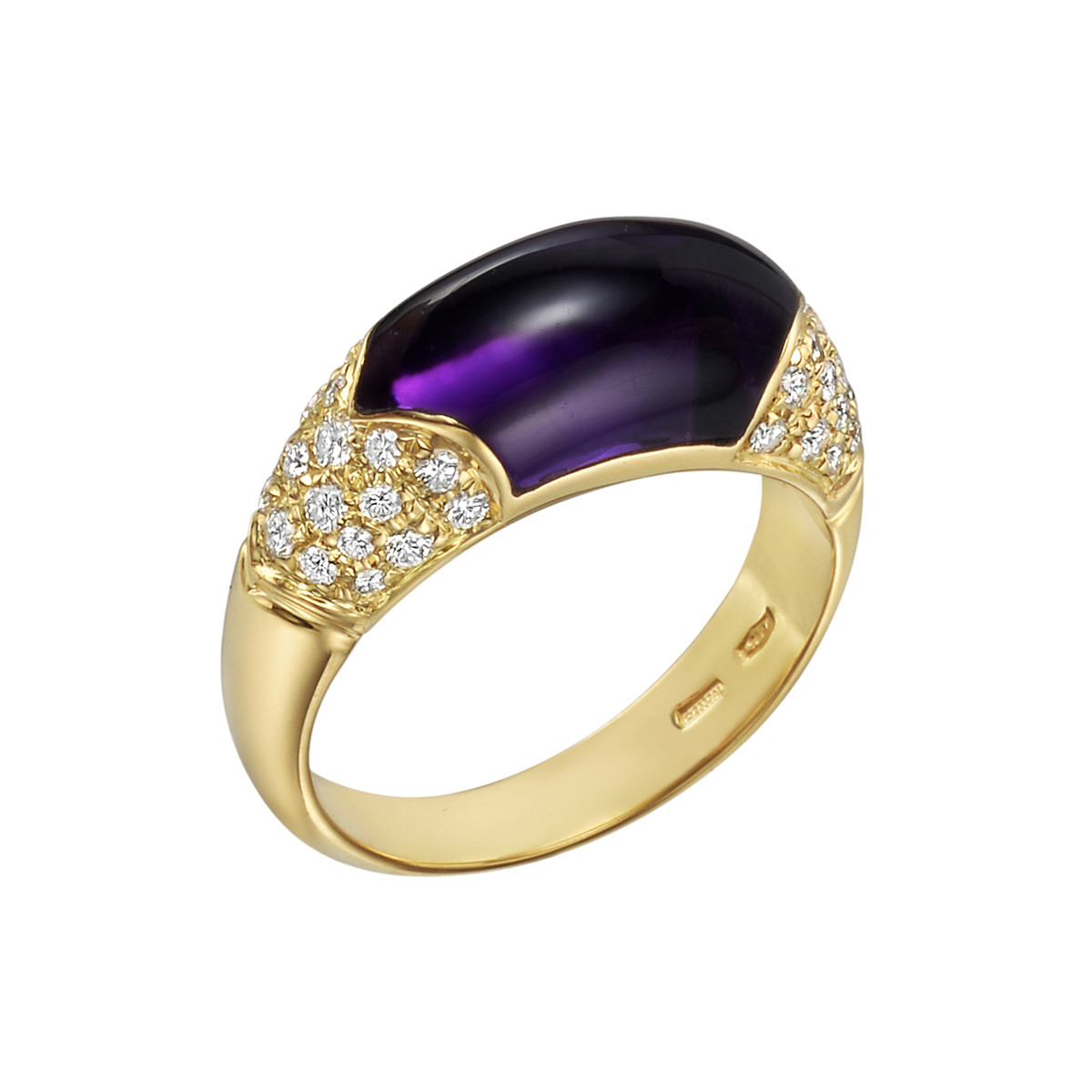 18k Yellow Gold, Amethyst & Diamond Ring