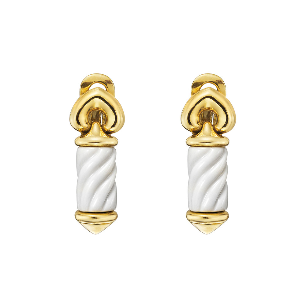 "18k Gold & White Ceramic ""Chandra"" Drop Earrings"