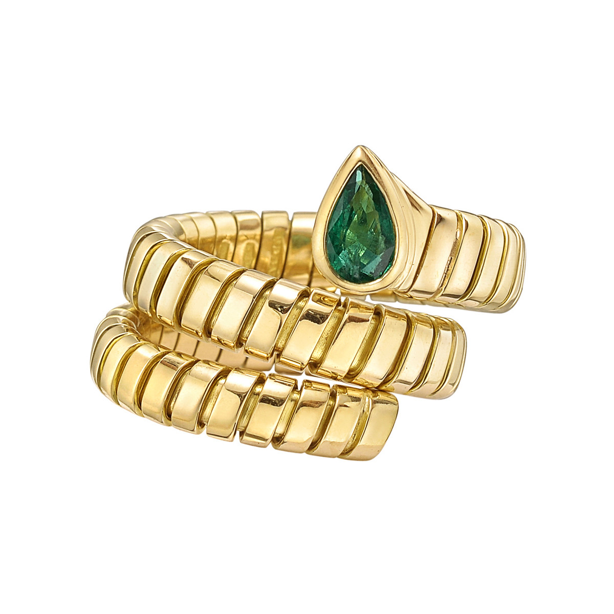 "18k Yellow Gold & Emerald ""Tubogas"" Ring"