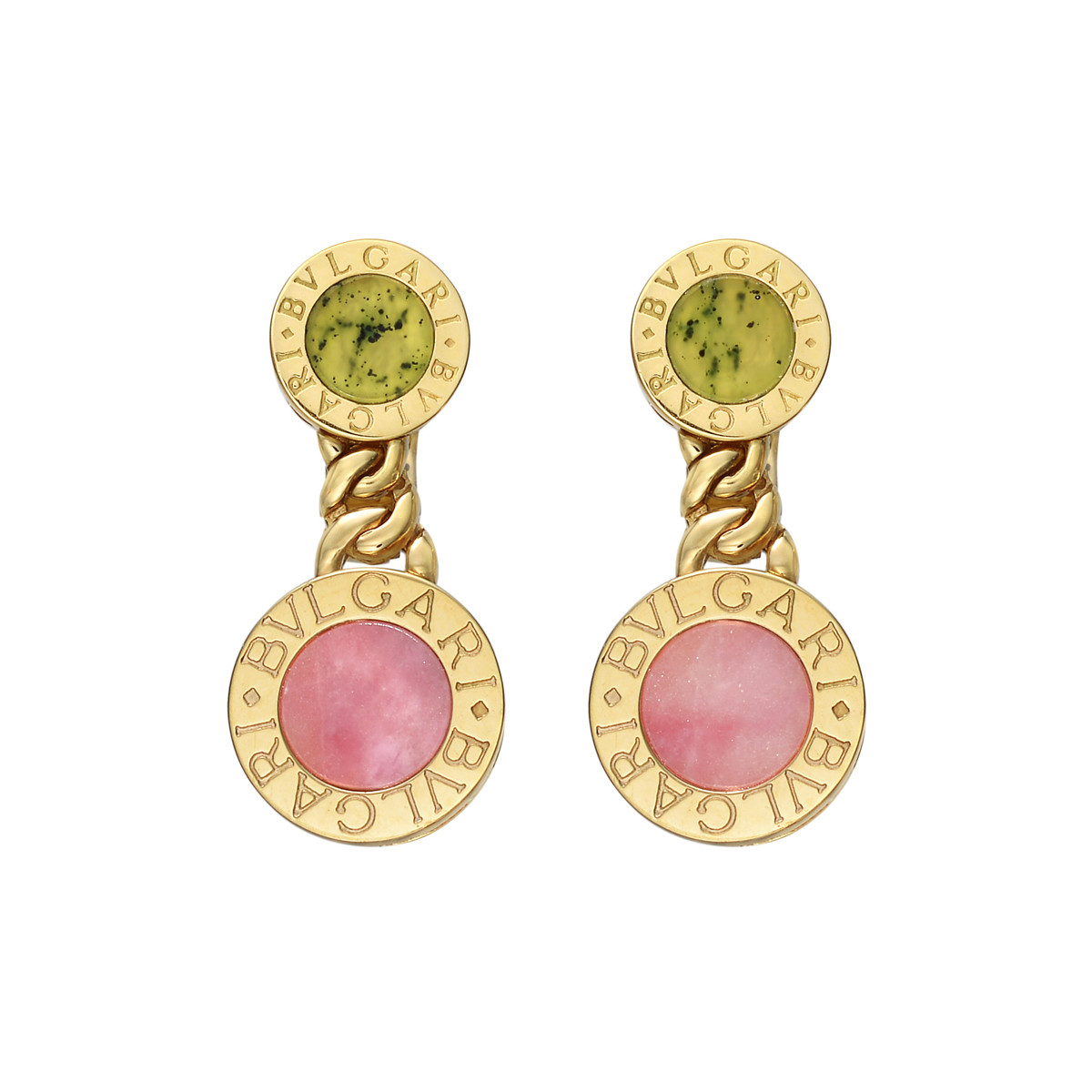 18k Yellow Gold, Rhodochrosite & Jade Drop Earrings
