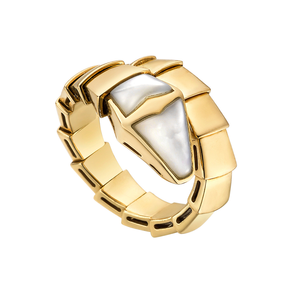 "18k Yellow Gold & Mother-of-Pearl ""Serpenti"" Ring"