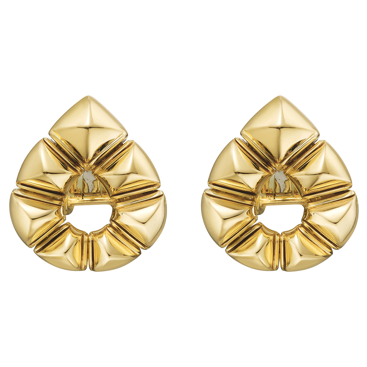 18k Yellow Gold Pyramid Pear-Shaped Earclips