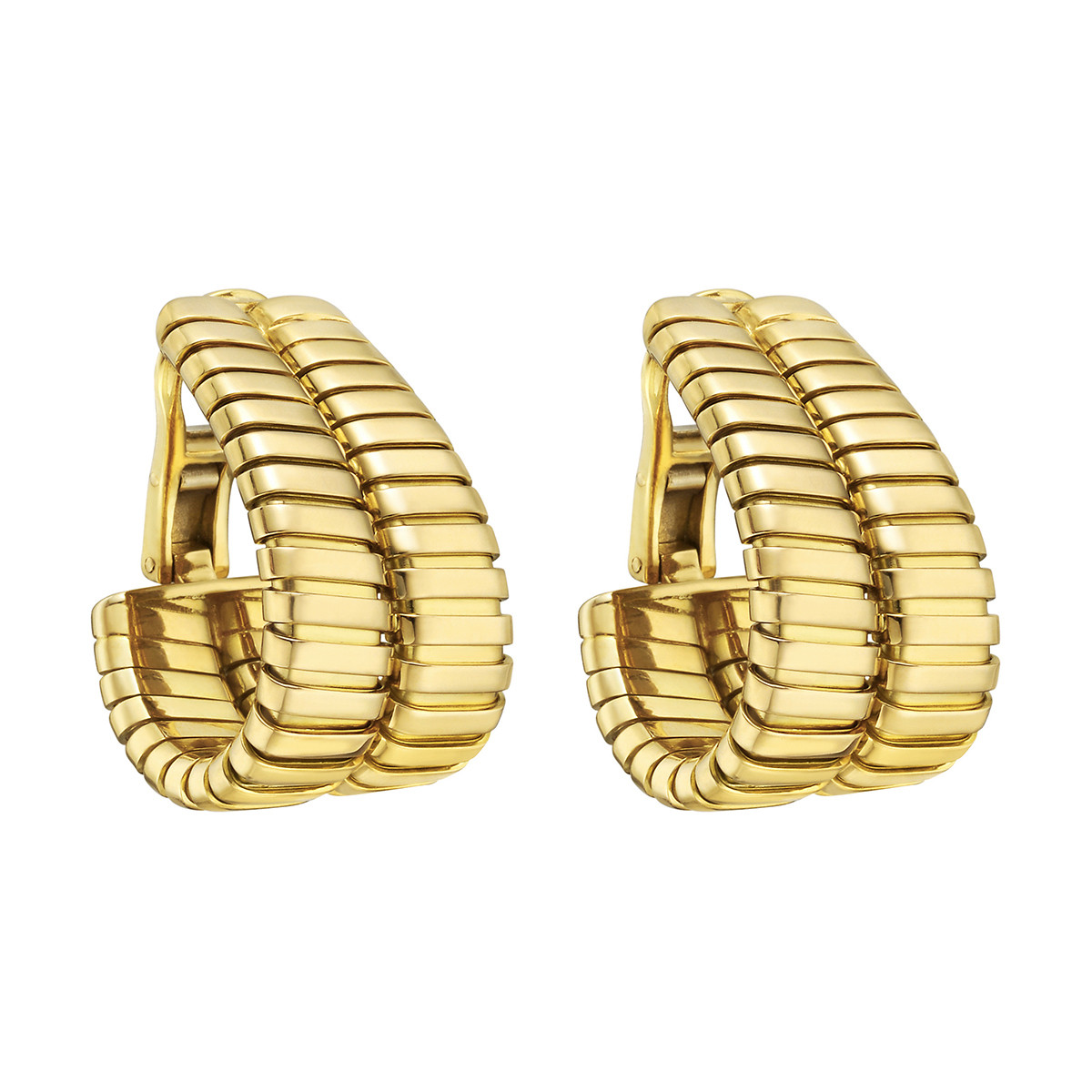 "18k Yellow Gold ""Tubogas"" Double Hoop Earrings"